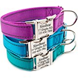 Personalized Dog Collar, Reflective Custom Dog Collar with Name Phone Number Adjustable Size (S M L)