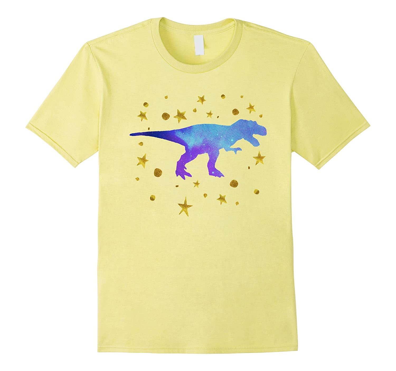 3488b4499a9 Cool Galaxy Dinosaur T Rex Gold Star Cute Blue Dino T Shirts-PL ...