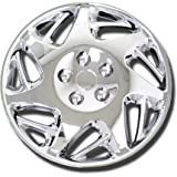 TuningPros WSC-007BC15 Chrome Hubcaps Wheel Skin Cover 15-Inches Silver Set of 4