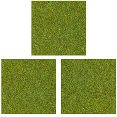"OrgMemory Model Grass Mat, (3pcs, 20""x20""), Model Railway Scenery for Model Scenery (Light Green): Toys & Games"