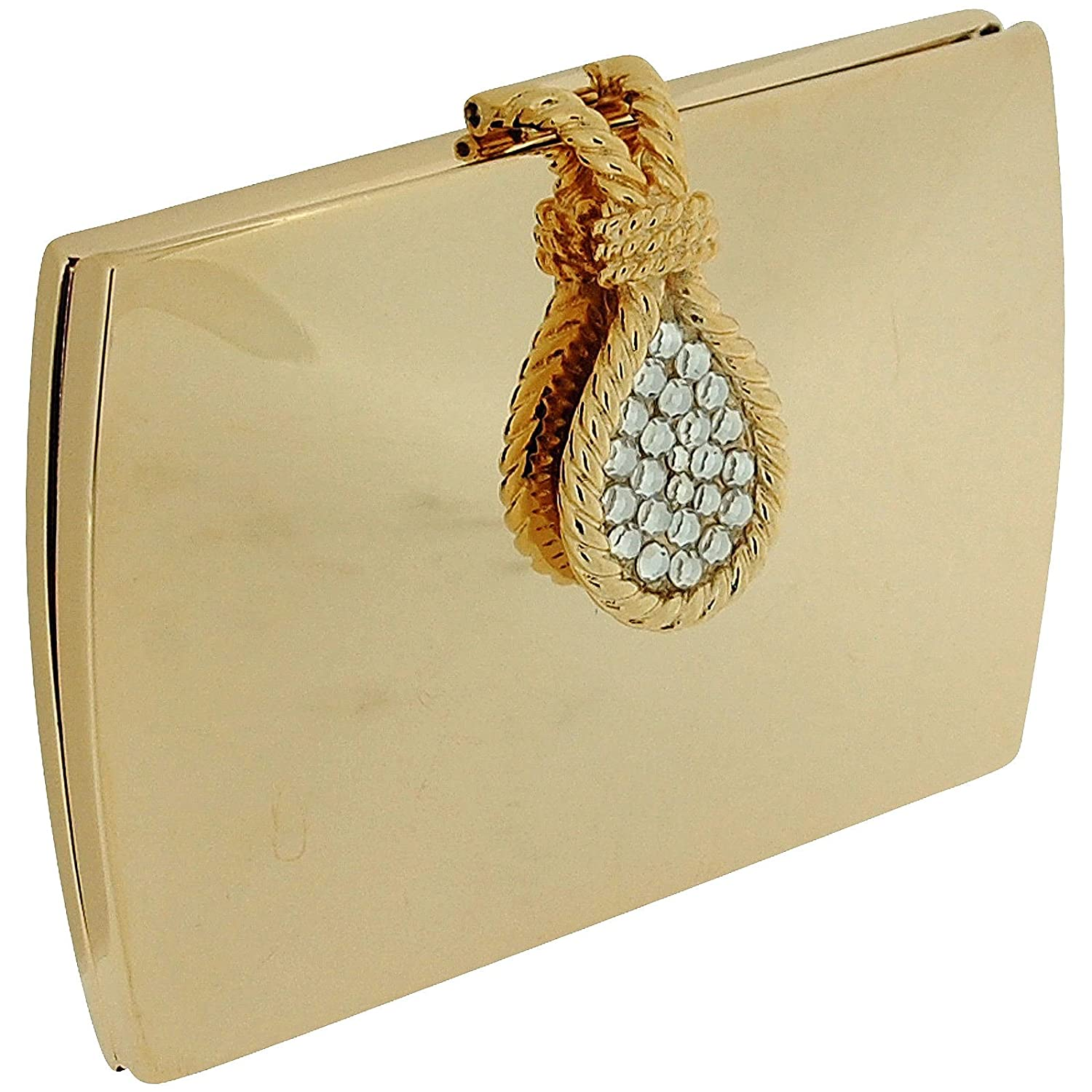 Compact Mirror Gold Tone Polished Envelope Mirror With Crystal Set Lever Opener SC967 Danielle