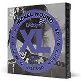 D'Addario Nickel Wound Electric Guitar Strings, 3-Pack, Med. Blues Jazz Rock, 11-49