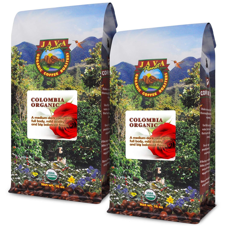 Java Planet, Organic Coffee Beans, Colombian Single Origin, Low Acid, Non GMO, Gourmet Medium Dark Roast of Arabica Whole Bean Coffee, Certified Organic, Rainforest Alliance Certified, Two 1LB Bags