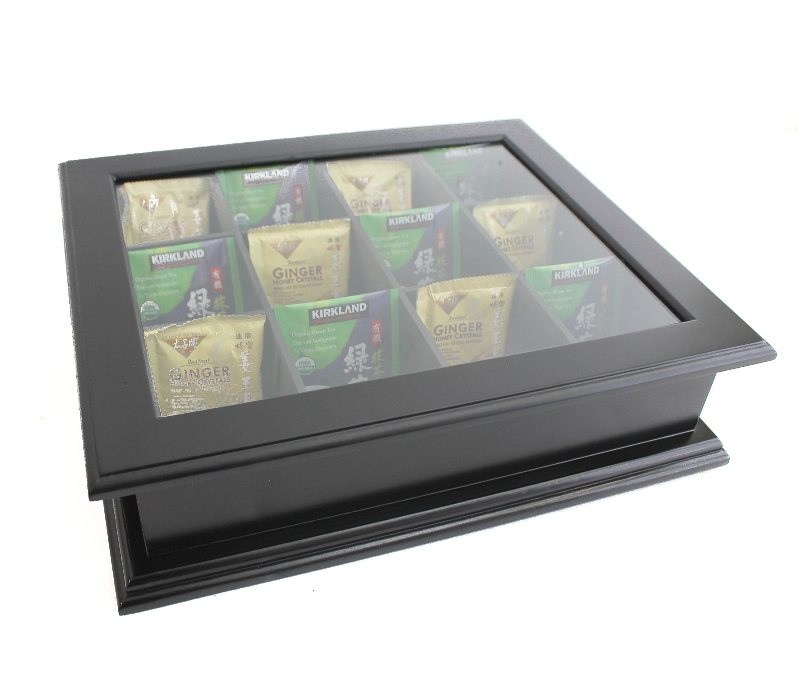 Large Tea Bag Chest Cabinet/Tea Bag Storage Box, Solid Wood (Black Finish) by DisplayGifts (Image #2)