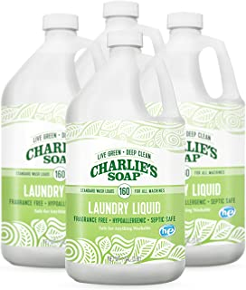product image for Charlie's Soap Laundry Liquid (160 Loads, 4 Pack) Natural Deep Cleaning Hypoallergenic Laundry Detergent – Safe, Effective and Non-Toxic