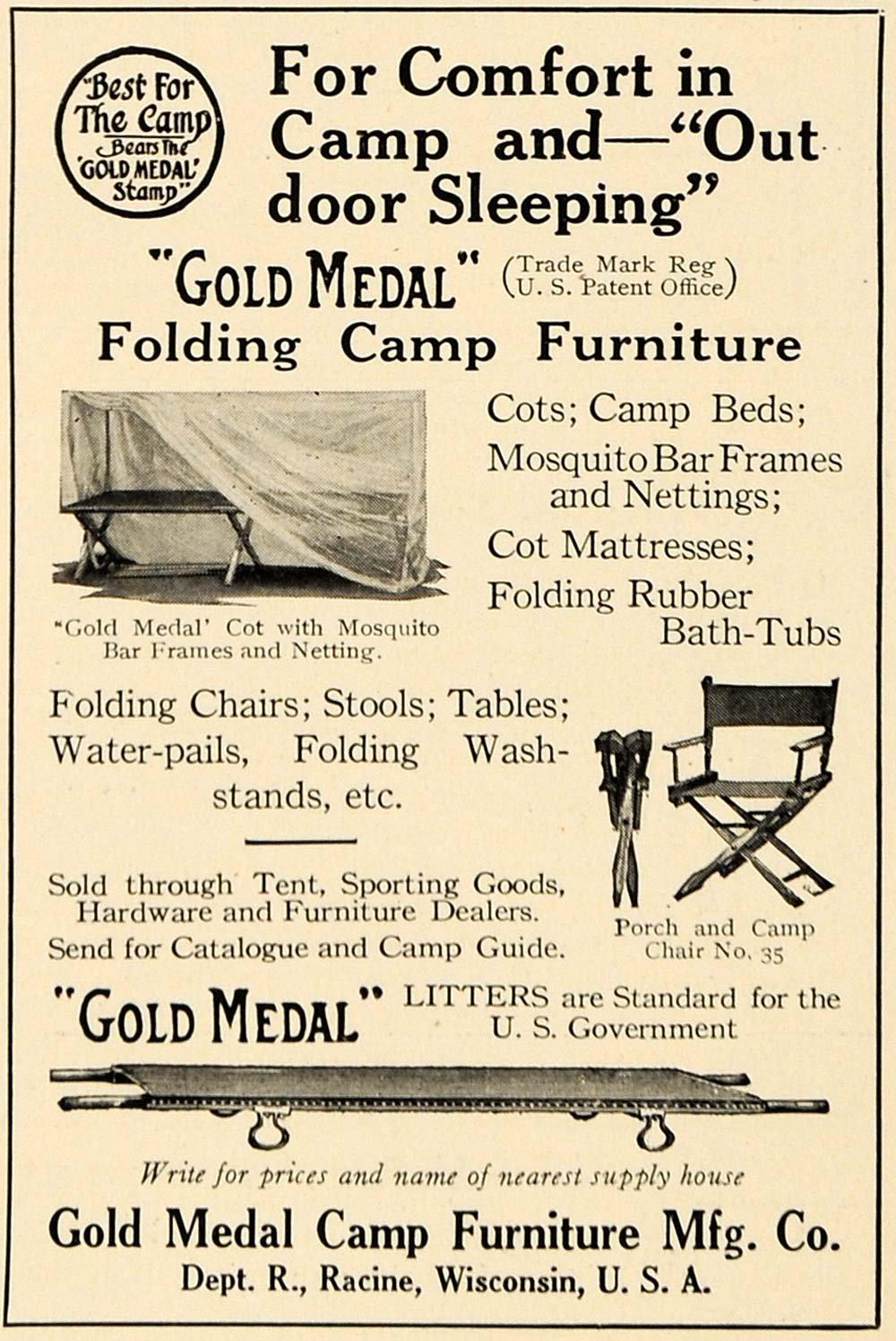 Amazon.com: 1917 Ad Gold Medal Folding Camp Furniture WWI Racine WI    Original Print Ad: Entertainment Collectibles