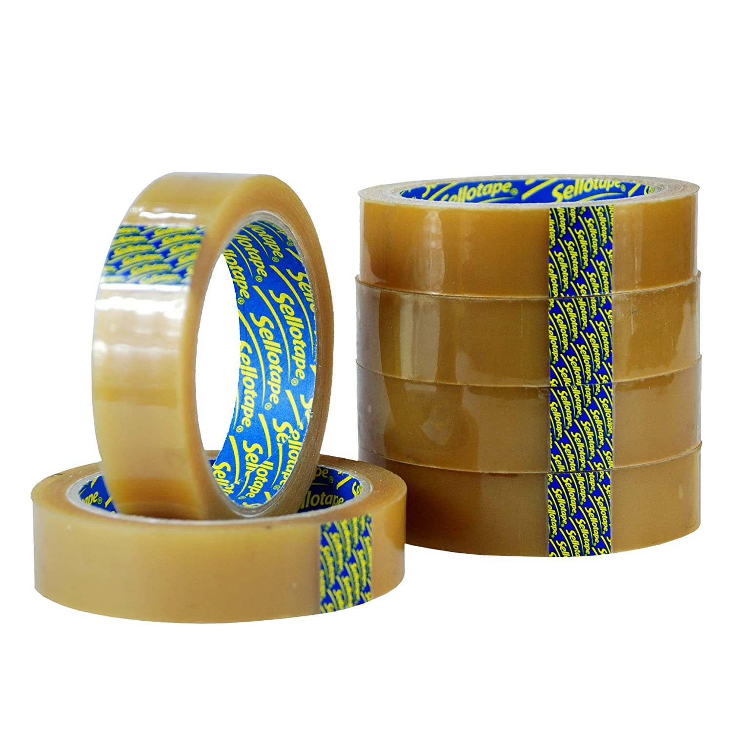 """CLEAR STICKY TAPE PACKING SELLOTAPE 1/"""" 24MM X 66M 24 MM CELLOTAPE SELLO CELLO 66"""