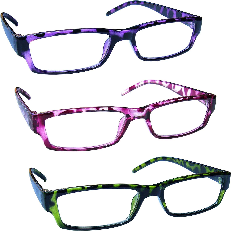 The Reading Glasses Company Gafas De Lectura Púrpura Rosa Verde Ligero Cómodo Lectores Valor Pack 3 Hombres Mujeres Rrr32-546 +2,50 3 Unidades 88 g