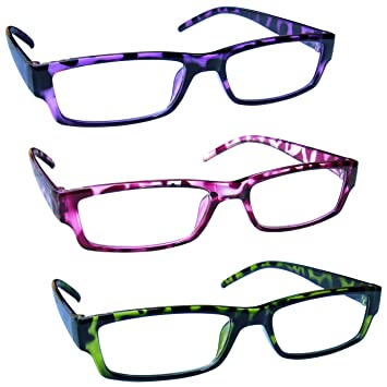2eb0a300a8 The Reading Glasses Company Purple Pink Green Lightweight Comfortable Readers  Value 3 Pack Mens Womens RRR32-546 +2.50  Amazon.co.uk  Health   Personal  Care