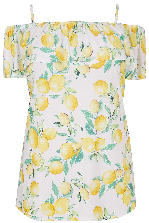 Yours Clothing Womens Plus Size Lemon Print Frill Bardot Top