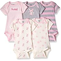 Gerber Baby-Girls Baby-Boys Unisex-Baby 5-Pack Organic Short-Sleeve Onesies Bodysuit Infant-and-Toddler-Bodysuits - Pink