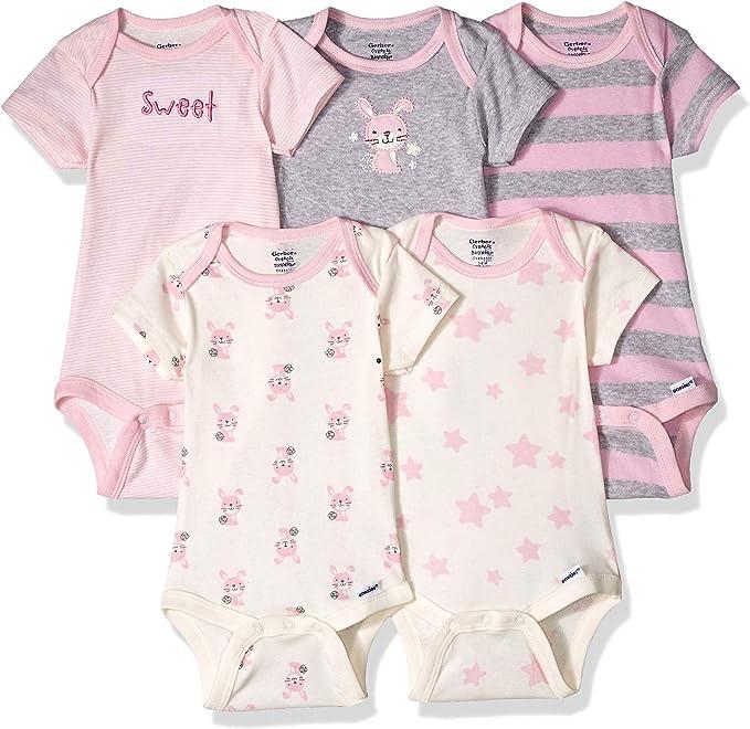 Gerber Baby 5-Pack Short-Sleeve Onesies Bodysuits