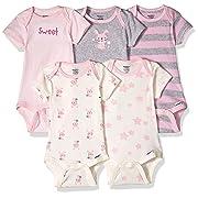 Gerber Baby 5-Pack Organic Short-Sleeve Onesies Bodysuit, Bunny, 6-9 Months