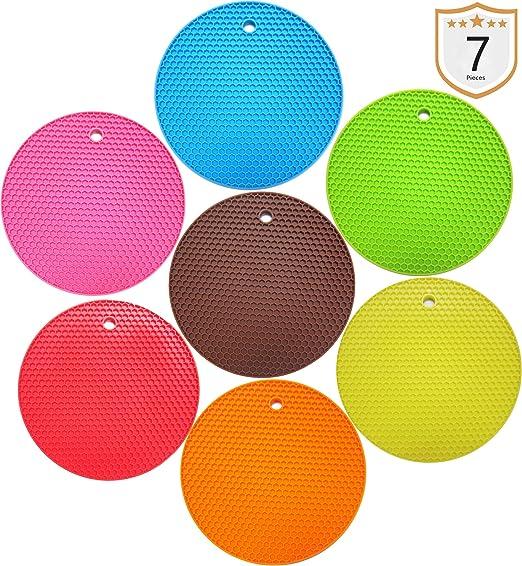 18cm Multi Colour Silicon Round Trivet Heat Resistant Multi-Usage Kitchen Tool