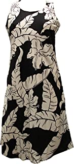 product image for Paradise Found Womens Hibiscus Pareau Short Tank Dress Black XXL