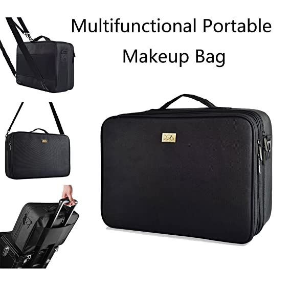 "DQS Makeup Train Case, 3 Layer 15.2"" Length Portable Travel Makeup Bag Cosmetic Organizer with 2 Shoulder Strapes, Black (15.16""×10.63""×5.31"")"