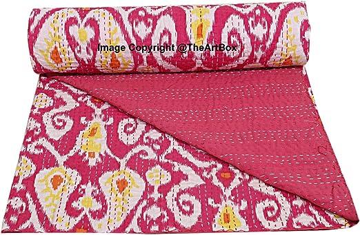 Indian Floral IKAT Kantha Quilt Reversible Throw Bedspread Blanket Ralli Gudari