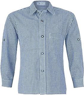 e88bc9dbb8bf1f ISAR Trachten Kinder Trachtenhemd Martin - Marineblau - Kariertes Hemd für  Jungen Zu Lederhose Oder Jeans