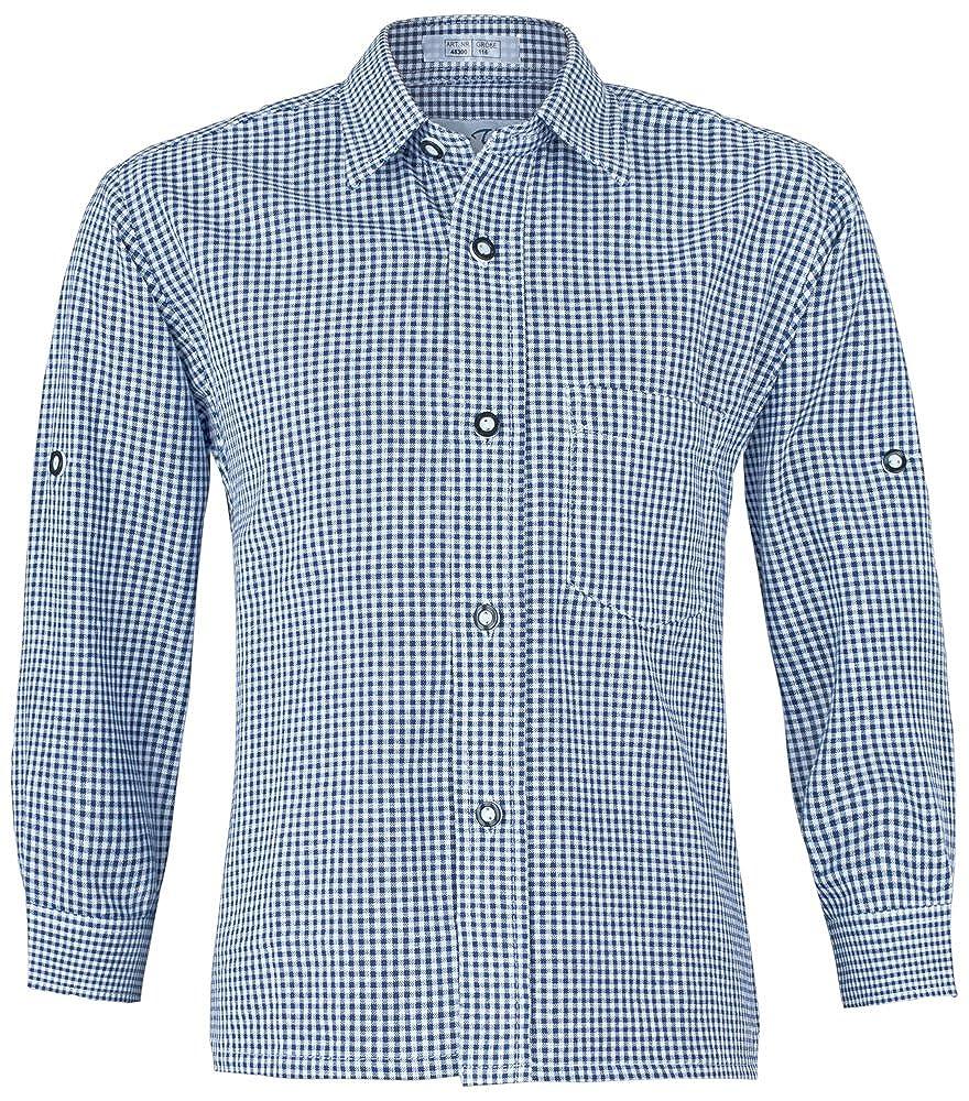 ISAR Trachten Kinder Trachtenhemd Martin - Marineblau - Kariertes Hemd für Jungen Zu Lederhose Oder Jeans an Oktoberfest Oder Kirchweih Isar-Trachten