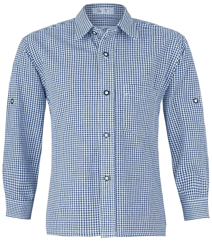 Isar Trachten Kinder Trachtenhemd Martin - Kariertes Hemd für Jungen zu Lederhose oder Jeans an Oktoberfest oder Kirchweih