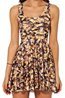iecool Printed Sleeveless Pleated Reversible Cocktail Party Mini Skater Dress