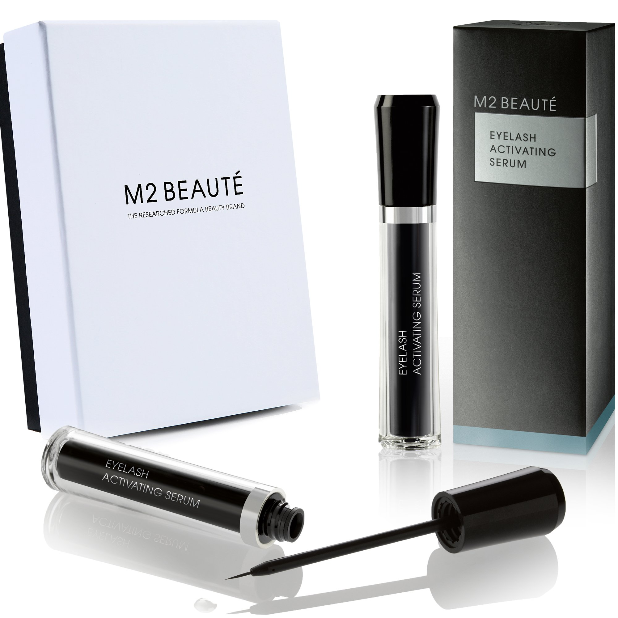 M2 BEAUTE Eyelash Activating Serum 5 Milliliter and M2 BEAUTE Box, Dermatologist Tested Product, Highest German Quality Professional Eyelash Serum for Growing Natural Lashes by M2Beaute