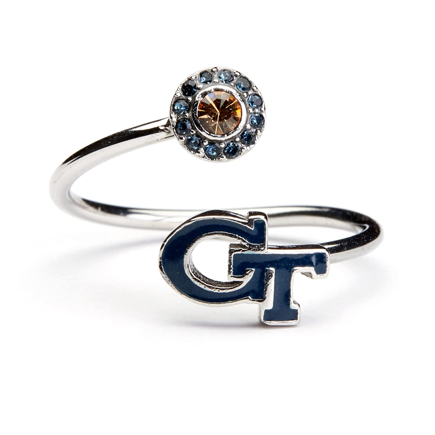 Blue Block GT with Crystal Georgia Tech Gifts Georgia Tech Ring GT Gifts Georgia Tech Jewelry Georgia Yellow Jackets Ring Officially Licensed Georgia Tech Jewelry