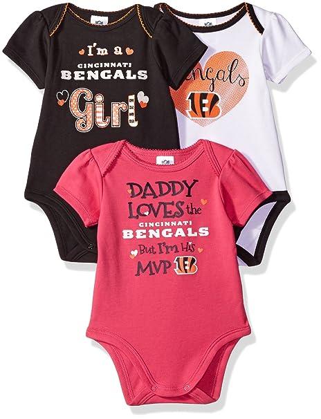 e537669d NFL Cincinnati Bengals Baby-Girls 3-Pack Short Sleeve Bodysuits, Gray, 18  Months