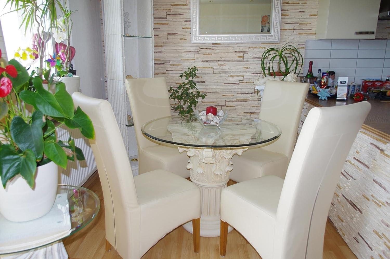 Runder Glas Esstisch Glas Küchentisch creme-beige-antikfinish Höhe ...