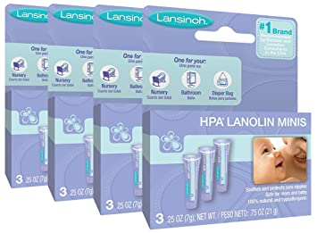 Lansinoh Breastfeeding Salve xaigAC - HPA Lanolin, 4 Pack (0.25 Ounce, 3 Count