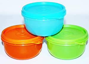 Tupperware Set of 3 Little Ideal Bowls 8 Ounce Large Snack Cups Blue, Orange, Green