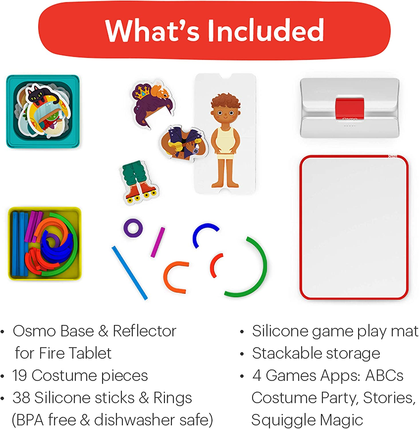 4 Hands-On Learning Games /& Creativity Problem Solving Preschool Ages Osmo Fire Tablet Base Included -  Exclusive Osmo Little Genius Starter Kit for Fire Tablet