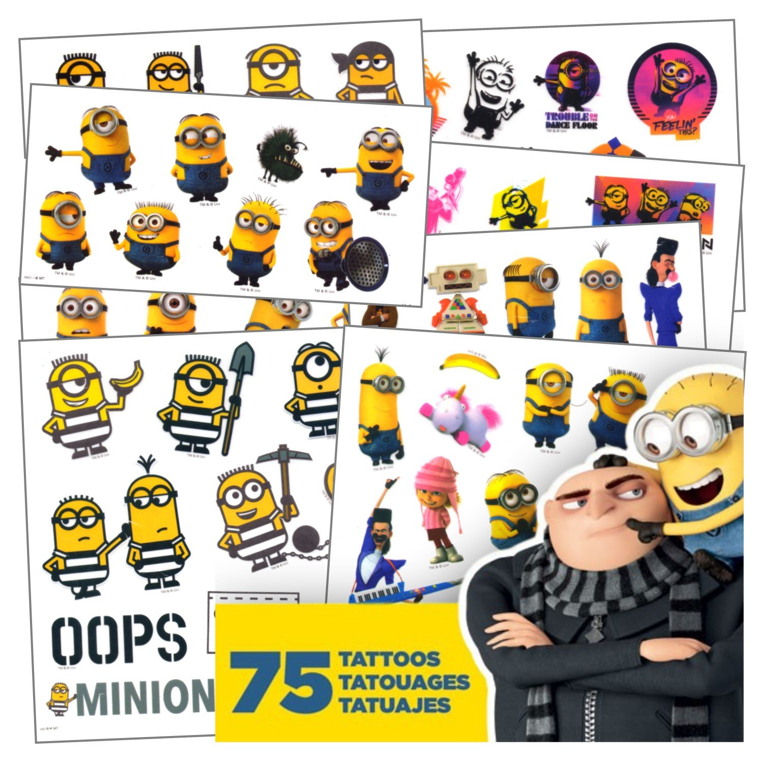 Childrens party supplies Despicable Me Tattoos - 75 Assorted Minions & Favorite Despicable Me 3 Characters Temporary Tattoos