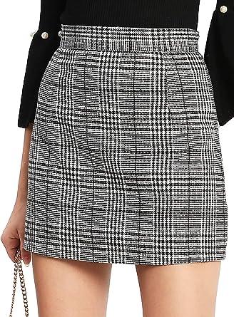 DIDK - Mini falda corta para mujer, diseño de cuadros escoceses ...