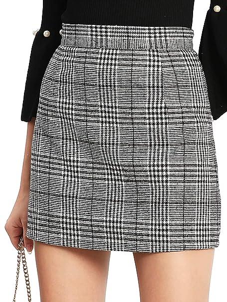 5195c40d4bbd Floerns Women's Plaid High Waist Bodycon Mini Skirt at Amazon ...
