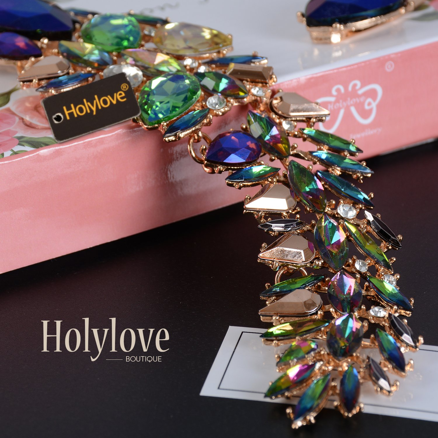 Holylove Women Costume Necklace Colorful, Statement Necklace for Women Novelty Fashion Jewelry 1 pc with Gift Box- HLN0008 Colorful by Holylove (Image #5)