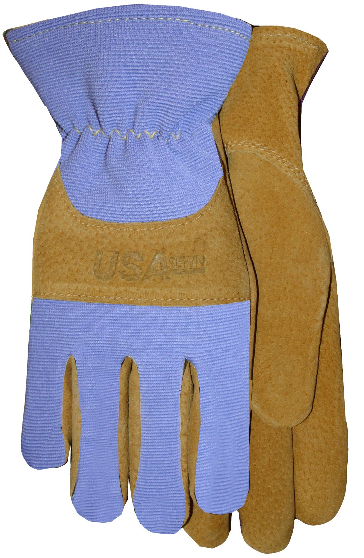 Midwest Gloves & Gear 188PER-8-AZ-6 Ladies Suede Glove, 8, Gold Leather with Periwinkle Spandex