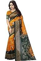 Kanan Retail Women's Silk Saree Free Size With Blouse Piece (Yellow & Green)
