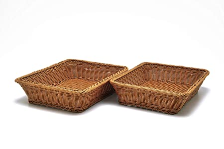 2 Pc Set of Rectangular Baskets for Tabletop or Counter Display For Serving Bread, Fruits and Vegetables Wicker Woven Storage Basket for Market, Spa, Salon, Bakery and Boutique Shop 16 x 12 x 3.5
