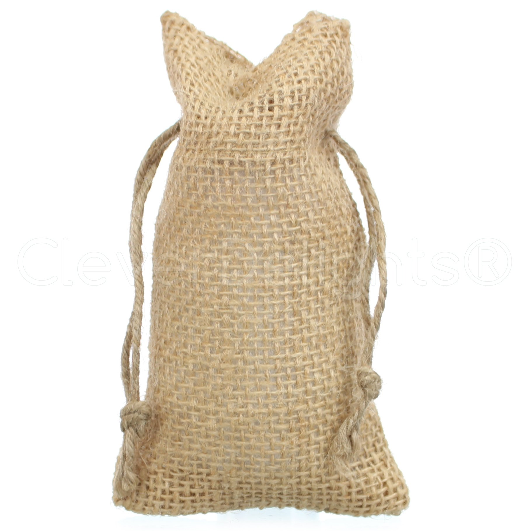 CleverDelights 3'' x 5'' Burlap Bags with Natural Jute Drawstring - 100 Pack - Small Burlap Pouch Sack Favor Bag for Showers Weddings Parties and Receptions - 3x5 inch