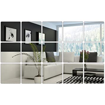 Bbto 6 X 6 Inches Mirror Sheets Square Mirror Decals Self Adhesive