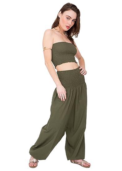 39c2c59cb222 Amazon.com  likemary 2 in 1 Cotton Harem Pants or Bandeau Jumpsuit ...