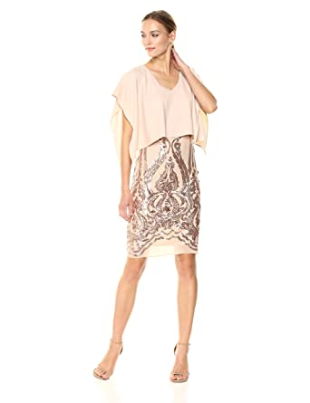 Betsy & Adam Womens Short Overlay Sequin Formal Dress, Champagne, ...