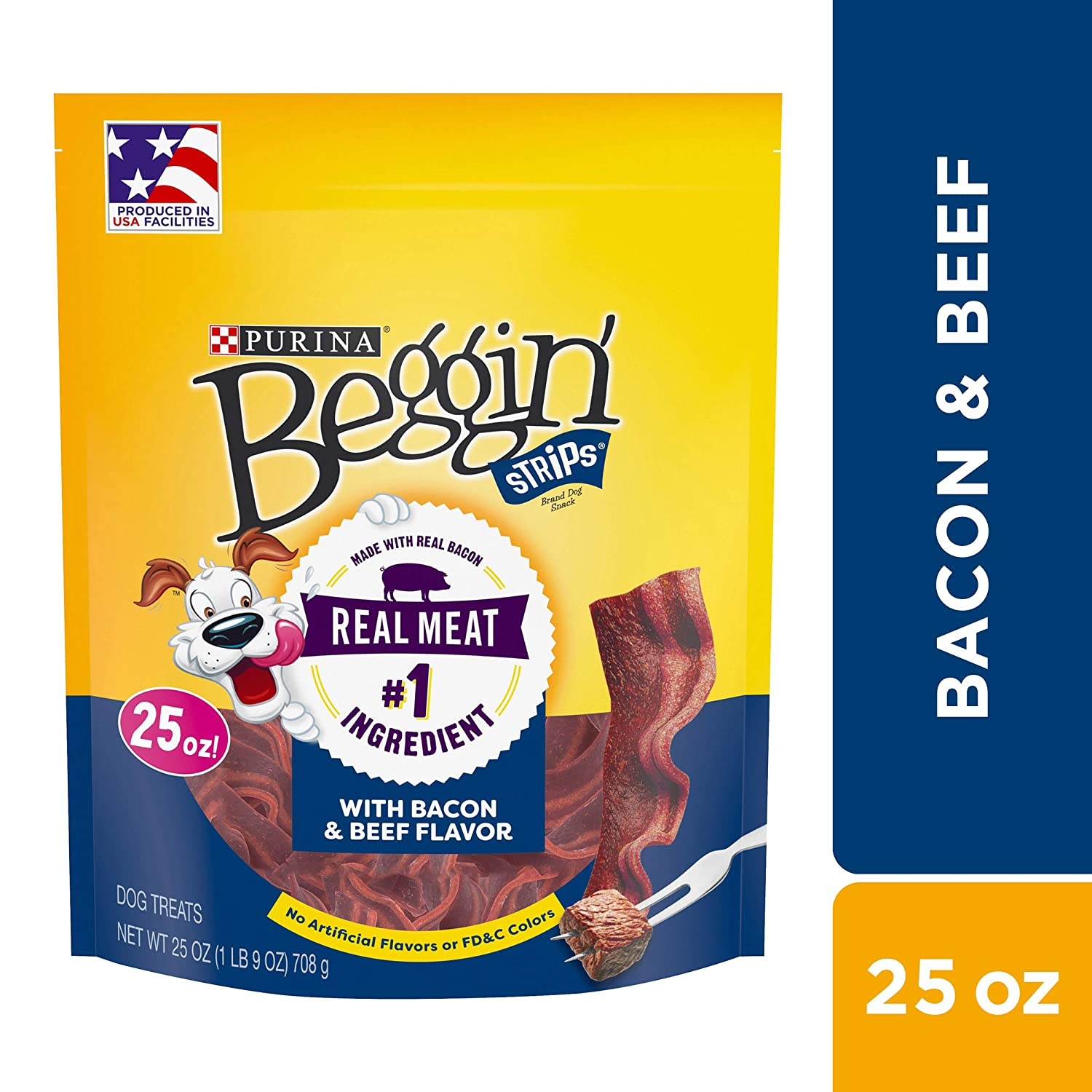 Purina Beggin Strips Made in USA Facilities Dog Training Treats, Bacon Beef Flavors – 4 25 oz. Pouches