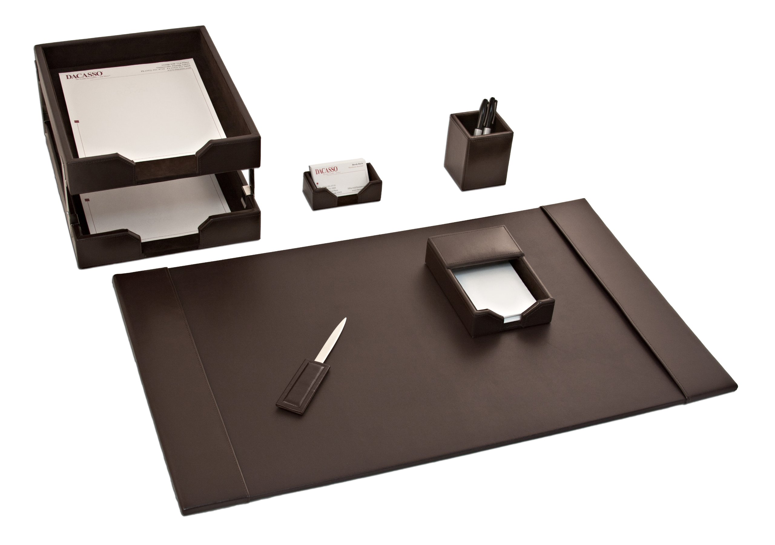 Dacasso Dark Brown Bonded Leather Desk Set, 8-Piece