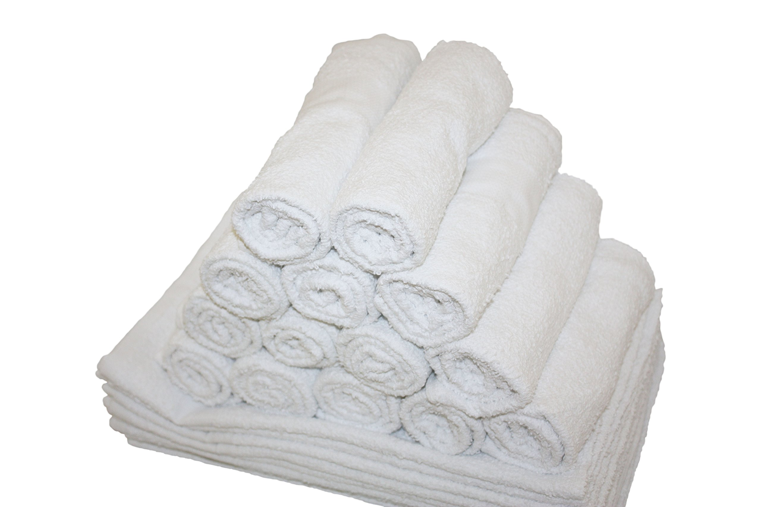 Atlas Economy Hand Towels 16x27 Inch (24 Bulk Pack) Solid White 100% Cotton - Salon, Gym, Spa, Massage, Spas, Motels, Restaurants, Cleaning, Auto & Home - Eco-Friendly