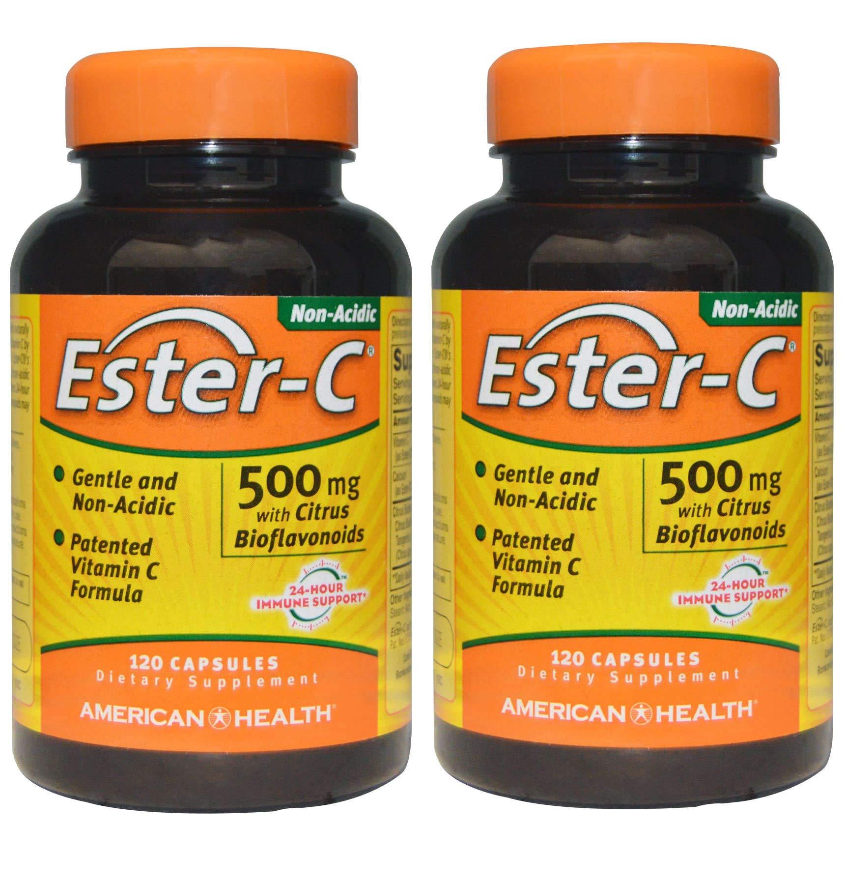 Ester-C Gentle, Non-Acidic, Patented Vitamin C Formula with Citrus Bioflavonoids and 24-Hour Immune Support 500 Milligrams (120 Capsules) Pack of 2