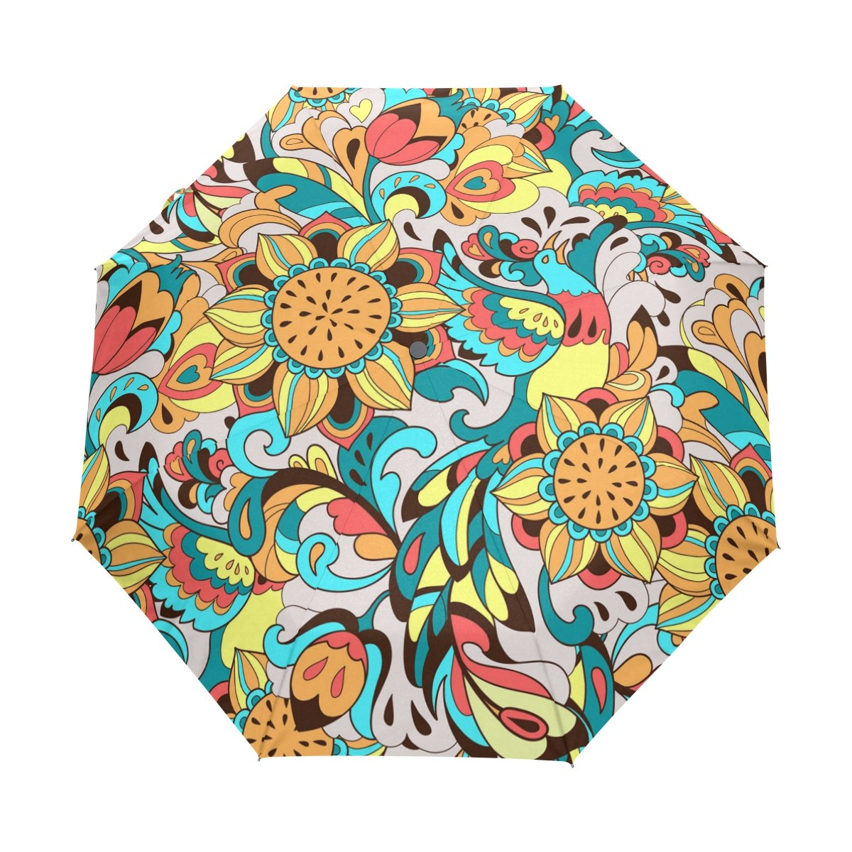 deyya Sunbird花自動3折りたたみパラソルSun保護紫外線対策傘の女性 B0757R92HV