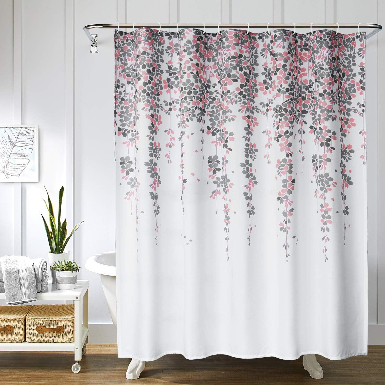 Large Flower Printed Bathroom Shower Curtain Waterproof Bath Curtain Room Decors