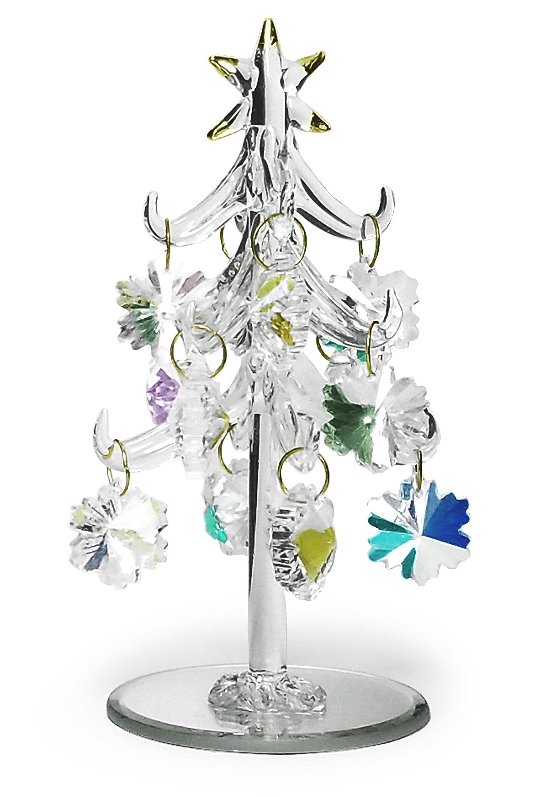 Glass Christmas Tree - Iridescent Glass Christmas Tree with Gold Trim - 12 Removable Snowflake Ornaments - 6'' Tall Tabletop Christmas Tree Decoration